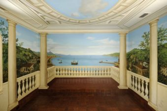 3021 PAINTED SCENE OF 18TH C. NAPLES WITH TROMPE L'OEIL COLUMNS AND BALUSTRADE